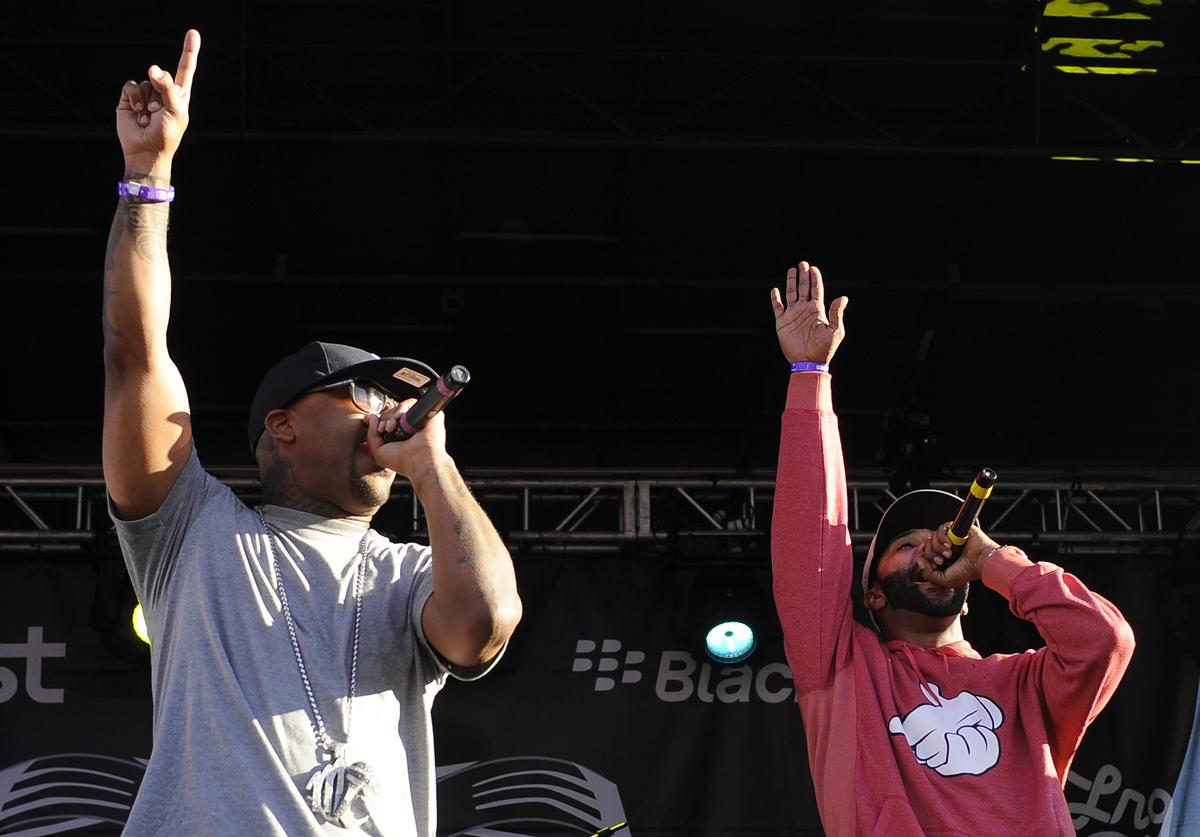 """Royce Da 5'9"""" (L) and Joe Budden of Slaughterhouse perform as part of Rock the Bells 2011 at Shoreline Amphitheatre on August 27, 2011 in Mountain View, California"""