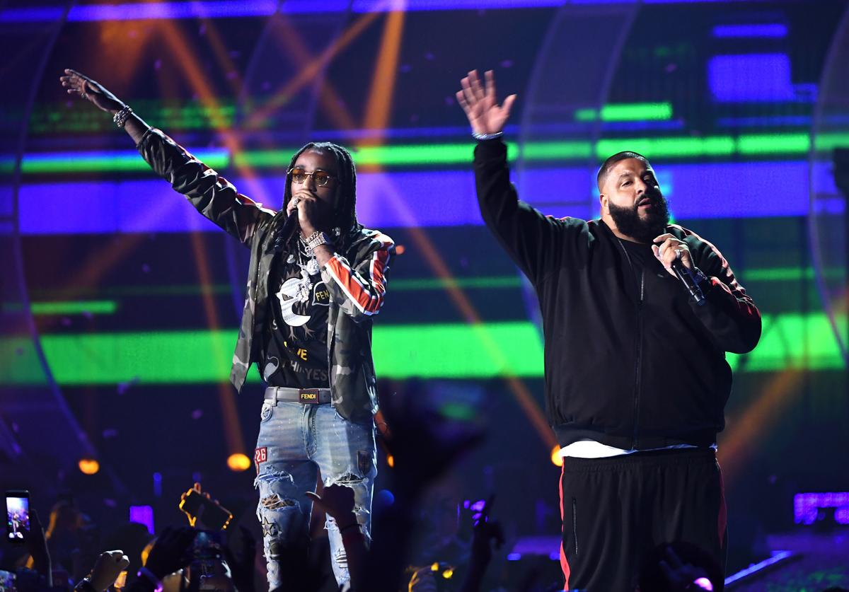 Quavo (L) and DJ Khaled perform onstage during the 2017 iHeartRadio Music Festival at T-Mobile Arena on September 23, 2017 in Las Vegas, Nevada