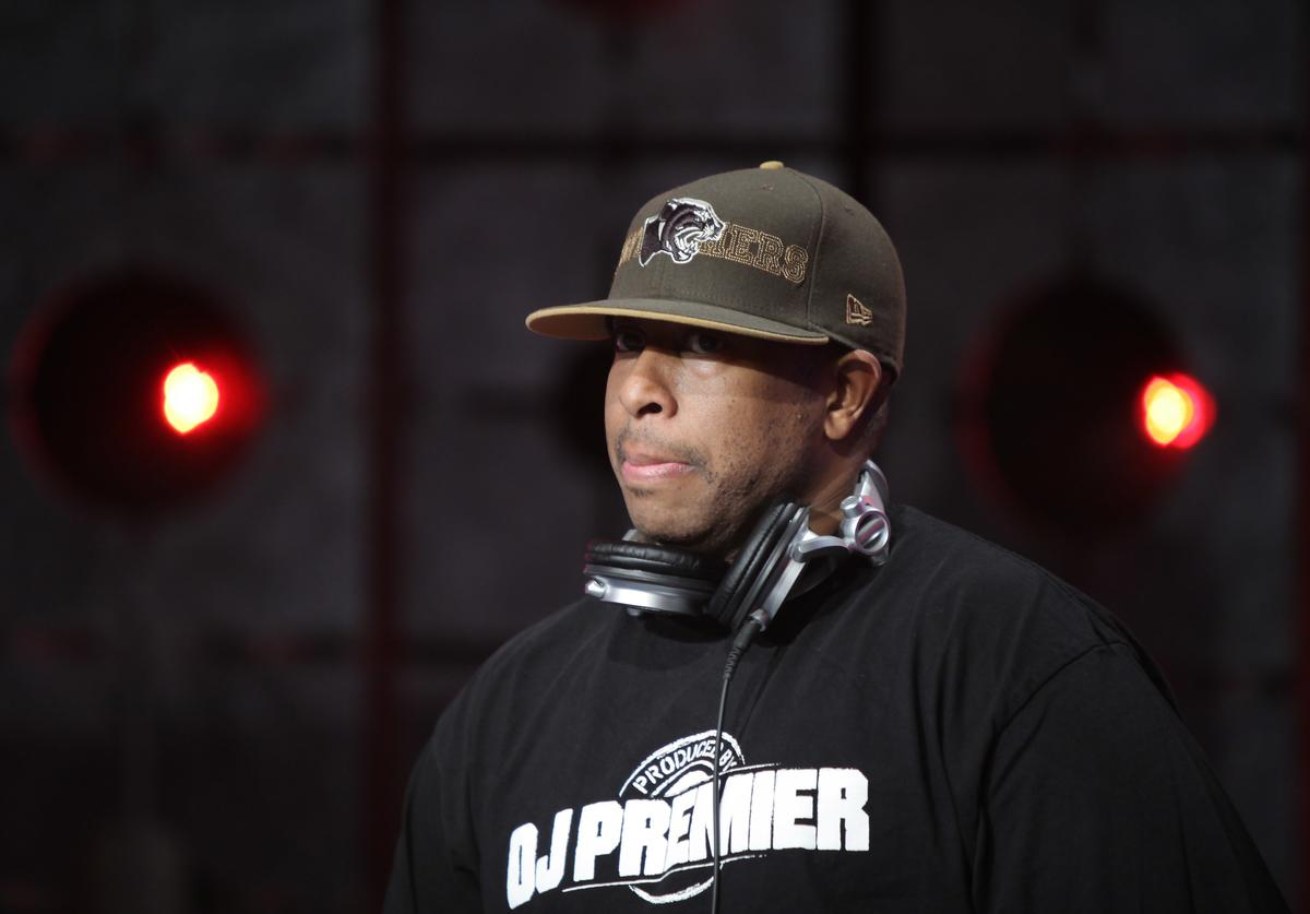 "DJ Premier performs on stage at BET's ""106 & Park"" at BET Studios on April 16, 2010 in New York City."