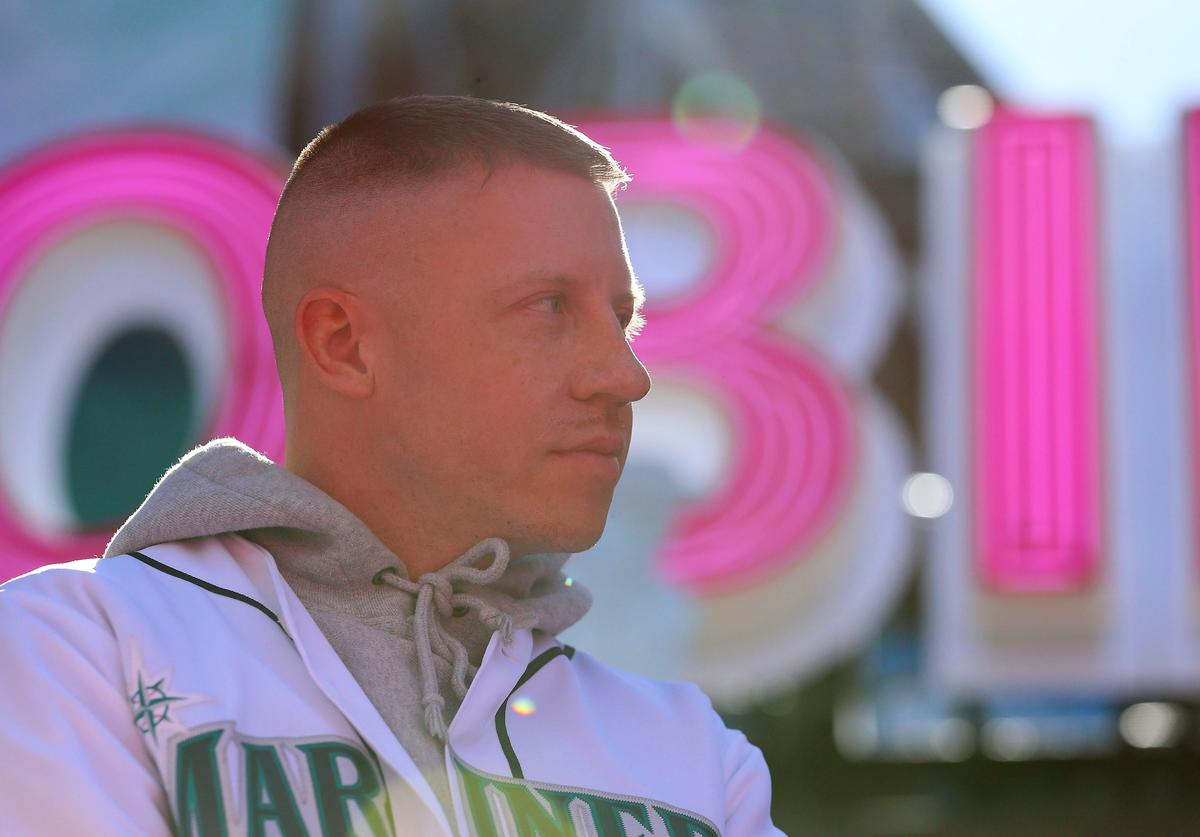 Macklemore attends the ribbon cutting ceremony to officially open T-Mobile Park against the Seattle Mariners and Boston Red Sox during their Opening Day game at T-Mobile Park on March 28, 2019 in Seattle, Washington
