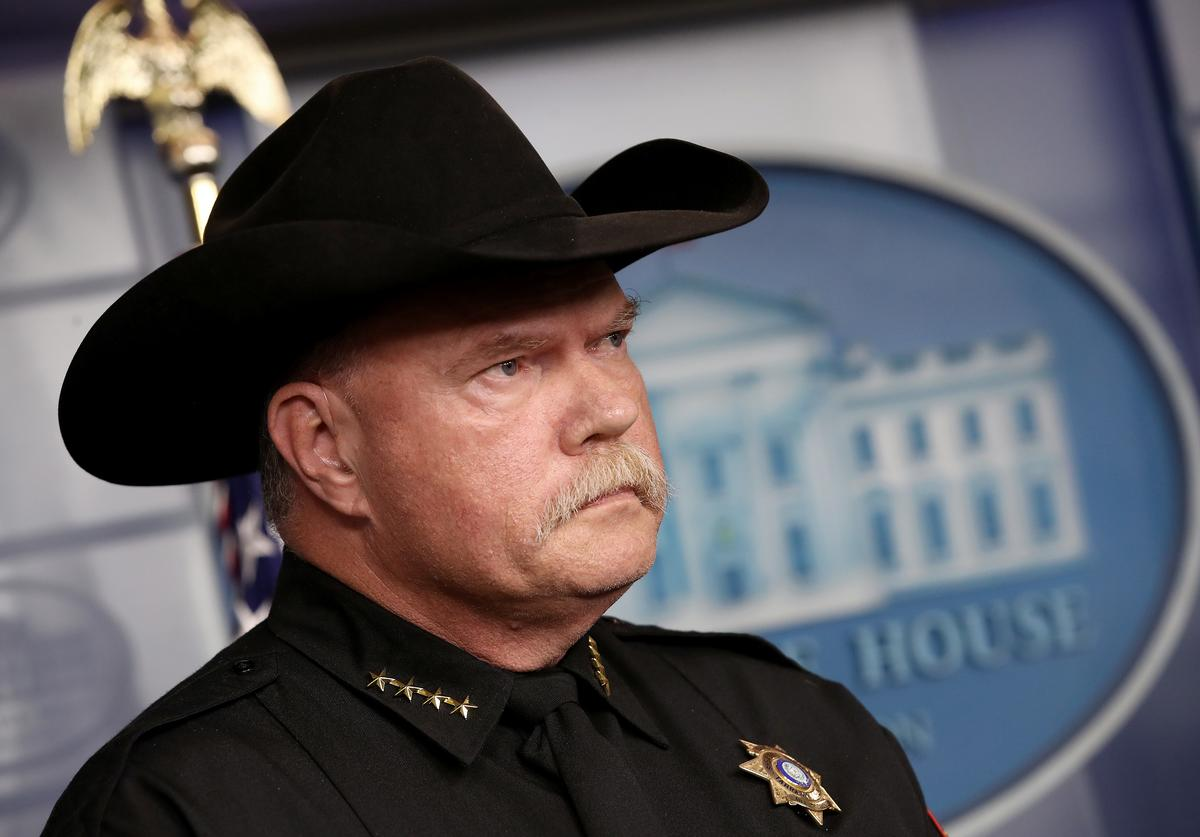 Tarrant County, Texas Sheriff Bill Waybourn attends a White House briefing with ICE Director Matt Albence October 10, 2019 in Washington, DC. Albence spoke on recent developments in U.S. immigration policy during the briefing