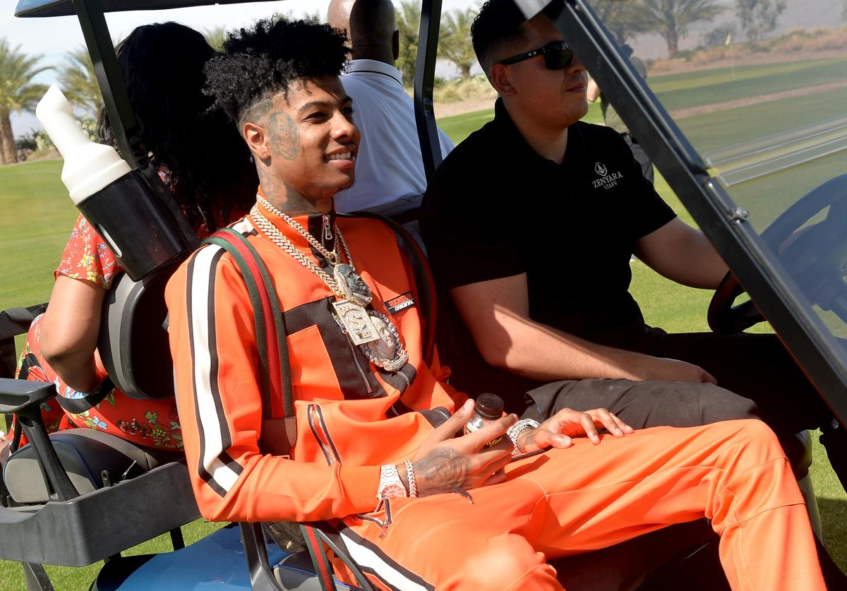 Blueface attends Republic Records Celebrates Their Class Of 2019 In Coachella Valley at Zenyara on April 14, 2019 in Coachella, California