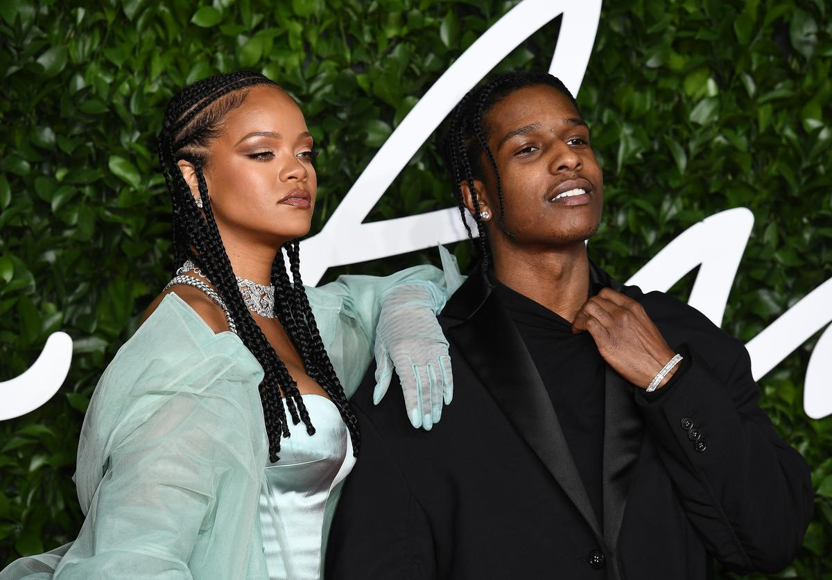 ASAP Rocky and Rihanna arrives at The Fashion Awards 2019 held at Royal Albert Hall on December 02, 2019 in London, England