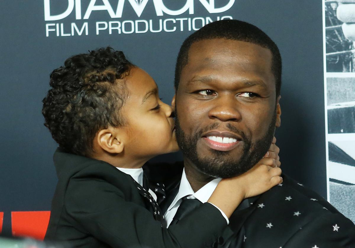 "50 Cent & his son, Sire, at ""Den of Thieves"" premiere"