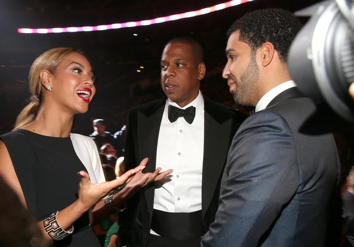 Beyonce and hip-hop artists Jay Z and Drake attend the 55th Annual GRAMMY Awards at STAPLES Center on February 10, 2013 in Los Angeles, California