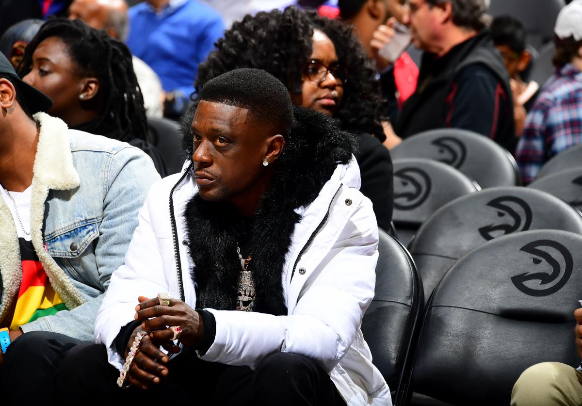 Lil Boosie attends the game between the Atlanta Hawks and the Golden State Warriors on December 2, 2019 at State Farm Arena in Atlanta, Georgia