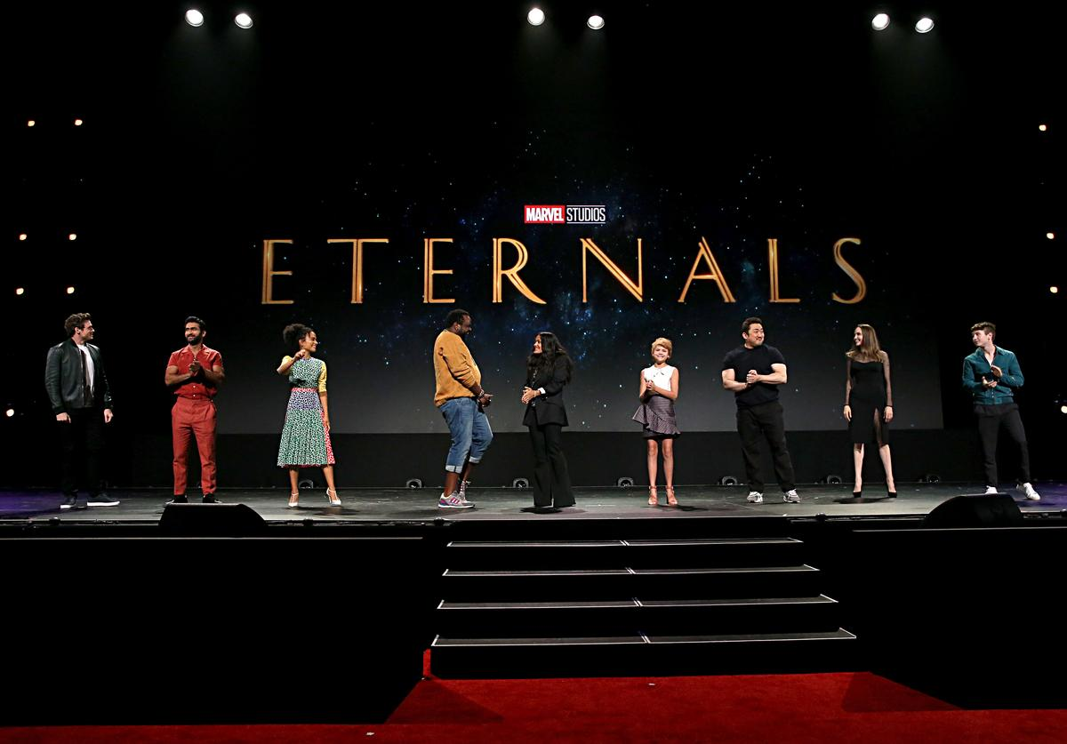 ichard Madden, Kumail Nanjiani, Lauren Ridloff, Salma Hayek, Lia McHugh, Don Lee, Angelina Jolie, and Barry Keoghan of 'The Eternals' took part today in the Walt Disney Studios presentation at Disney's D23 EXPO 2019 in Anaheim, Calif. 'The Eternals' will be released in U.S. theaters on November 6, 2020.