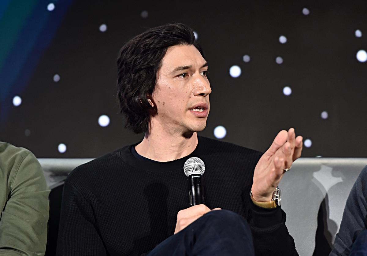 "Adam Driver participates in the global press conference for ""Star Wars: The Rise of Skywalker"" at the Pasadena Convention Center on December 04, 2019 in Pasadena, California."