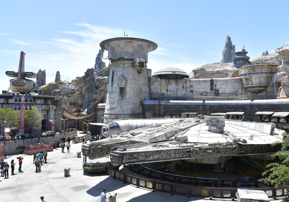The Millennium Falcon at the Star Wars: Galaxy's Edge media preview at The Disneyland Resort at Disneyland on May 29, 2019 in Anaheim, California.