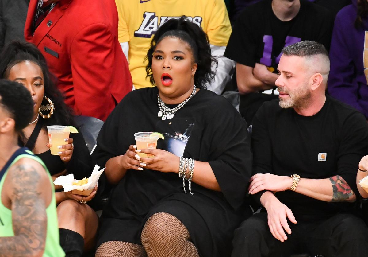 Lizzo attends a basketball game between the Los Angeles Lakers and the Minnesota Timberwolves at Staples Center on December 08, 2019 in Los Angeles, California