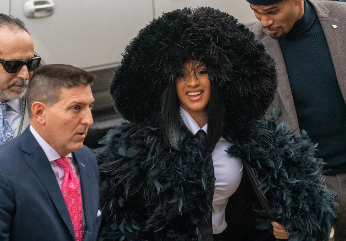 Rapper Cardi B (Belcalis Marlenis Almanzar) arrives at Queens Criminal Court on December 10, 2019 in New York City to answer charges over strip club incident. Cardi B has been charged in a 14-count indictment, including two counts of felony attempted assault on two bartenders at Angels Strip Club in the Flushing section of Queens.