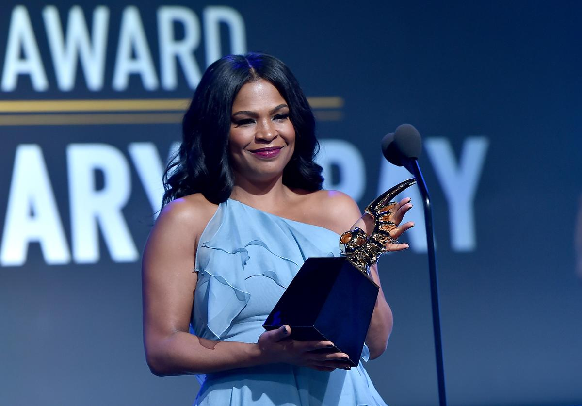 Actor Nia Long speaks onstage during BET Presents the American Black Film Festival Honors on February 17, 2017 in Beverly Hills, California.