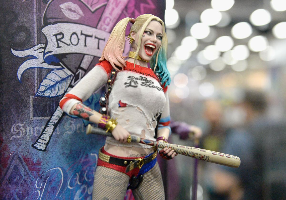 Harley Quinn from 'Suicide Squad' figurine displayed at Comic-Con International 2016 preview night on July 20, 2016 in San Diego, California.