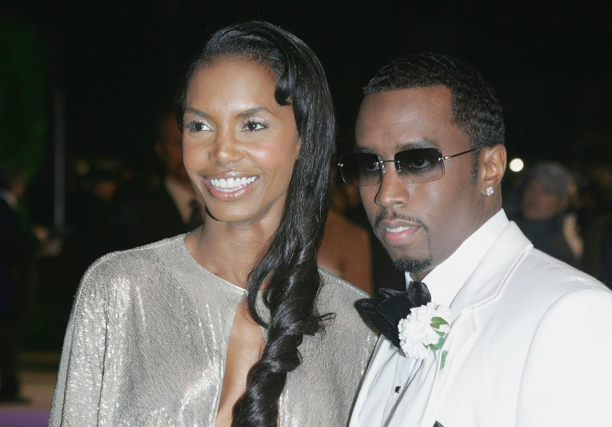 Diddy & Kim Porter at Vanity Fair Oscars Party