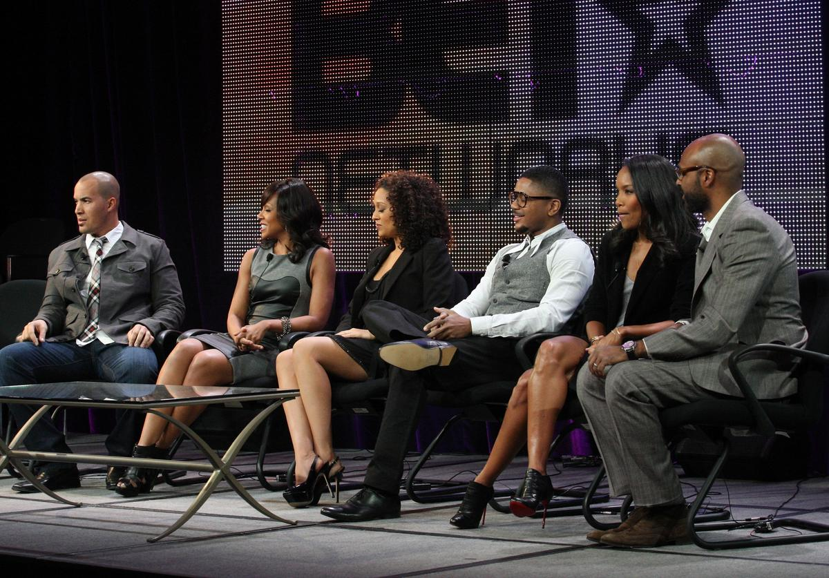 Coby Bell, Wendy Raquel Robinson, Tia Mowry, Hosea Chanchez, executive producers Mara Brock Akil, and Salim Akil speak onstage during the 'The Game' panel at the BET Networks portion of the 2011 Winter TCA press tour held at the Langham Hotel on January 6, 2011 in Pasadena, California