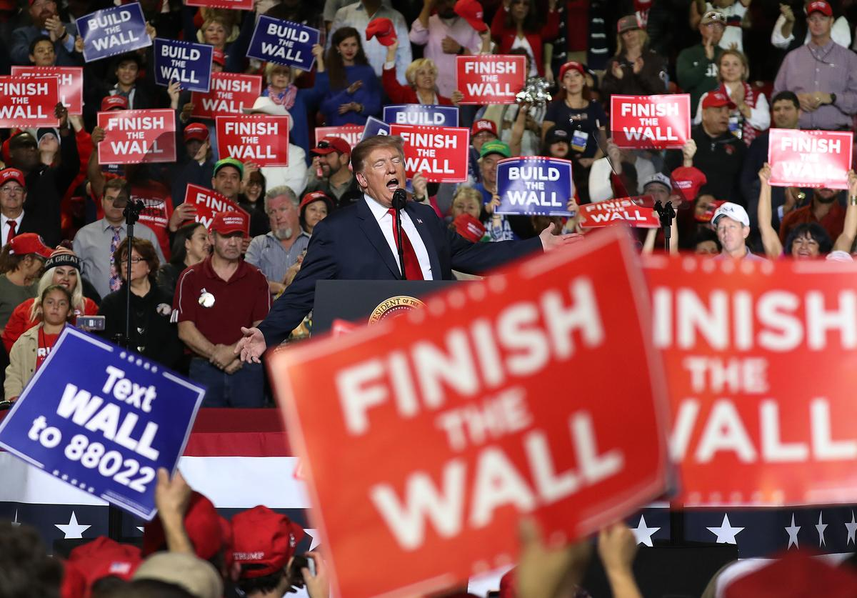 U.S. President Donald Trump speaks during a rally at the El Paso County Coliseum on February 11, 2019 in El Paso, Texas. Trump continues his campaign for a wall to be built along the border as the Democrats in Congress are asking for other border security measures