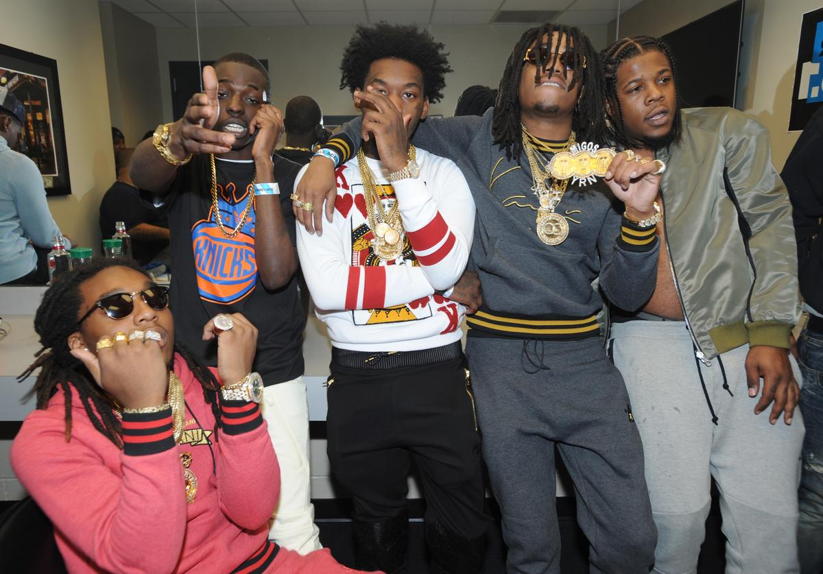 "Bobby Shmurda, Kiari ""Offset""? Cephus, Kirshnik 'Takeoff' Ball and Quavious ""Quavo""? Marshall of Migos pose backstage at Power 105.1's Powerhouse 2014 at Barclays Center of Brooklyn on October 30, 2014 in New York City"