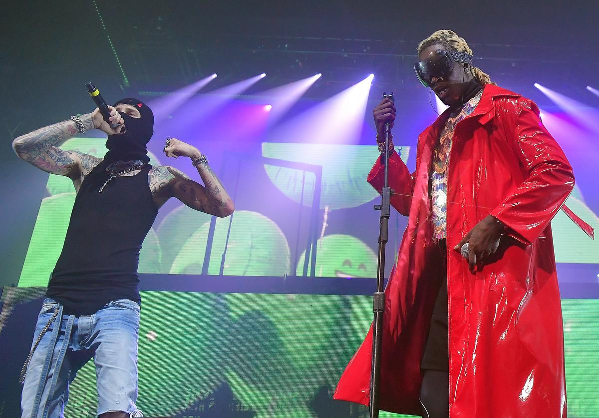 Machine Gun Kelly and Young Thug perform at Young Thug + Machine Gun Kelly In concert at Coca Cola Roxy on October 16, 2019 in Atlanta, Georgia