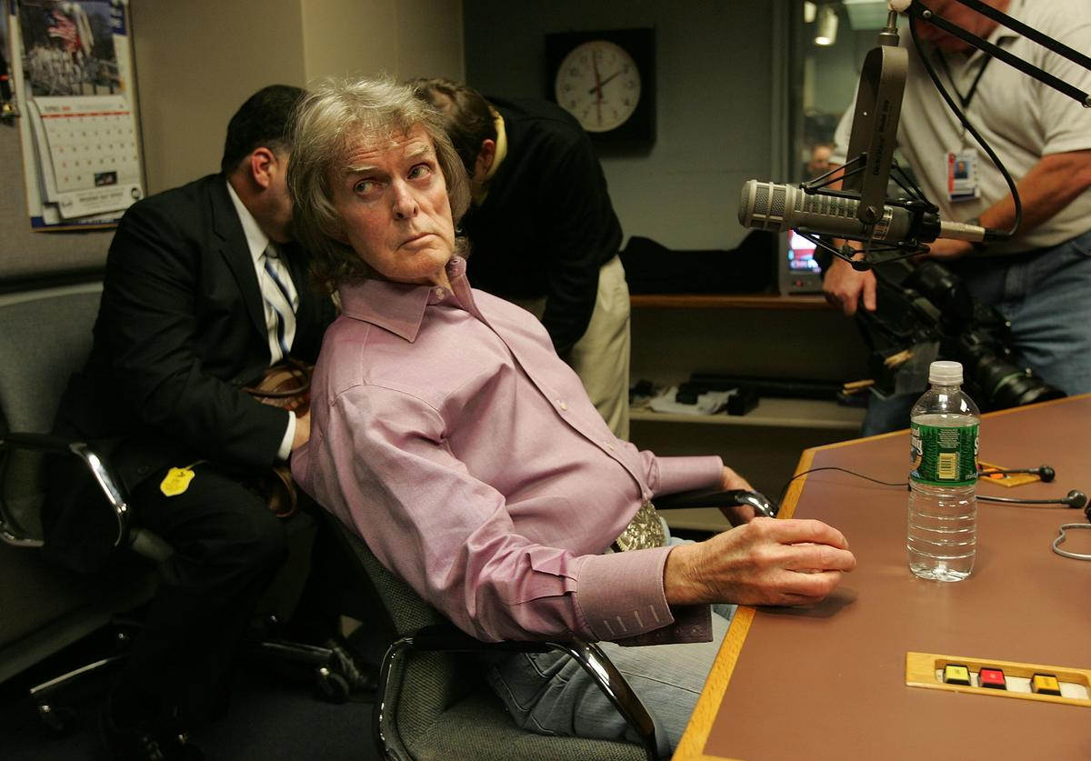 "Radio show host Don Imus waits for the Rev. Al Sharpton's radio show to begin, where Imus talked about complaints that he made racially charged comments in a recent broadcast April 9, 2007 in New York City. On his morning show April 4, Imus referred to the Rutgers women's basketball team, which had lost the national championship game the day before, as ""nappy-headed hos."""