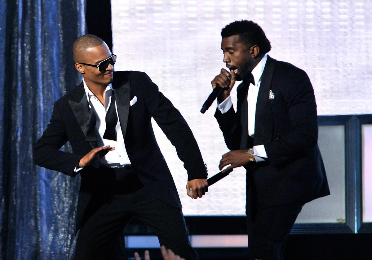 Kanye West & T.I. performing at the 52nd Annual Grammy Awards