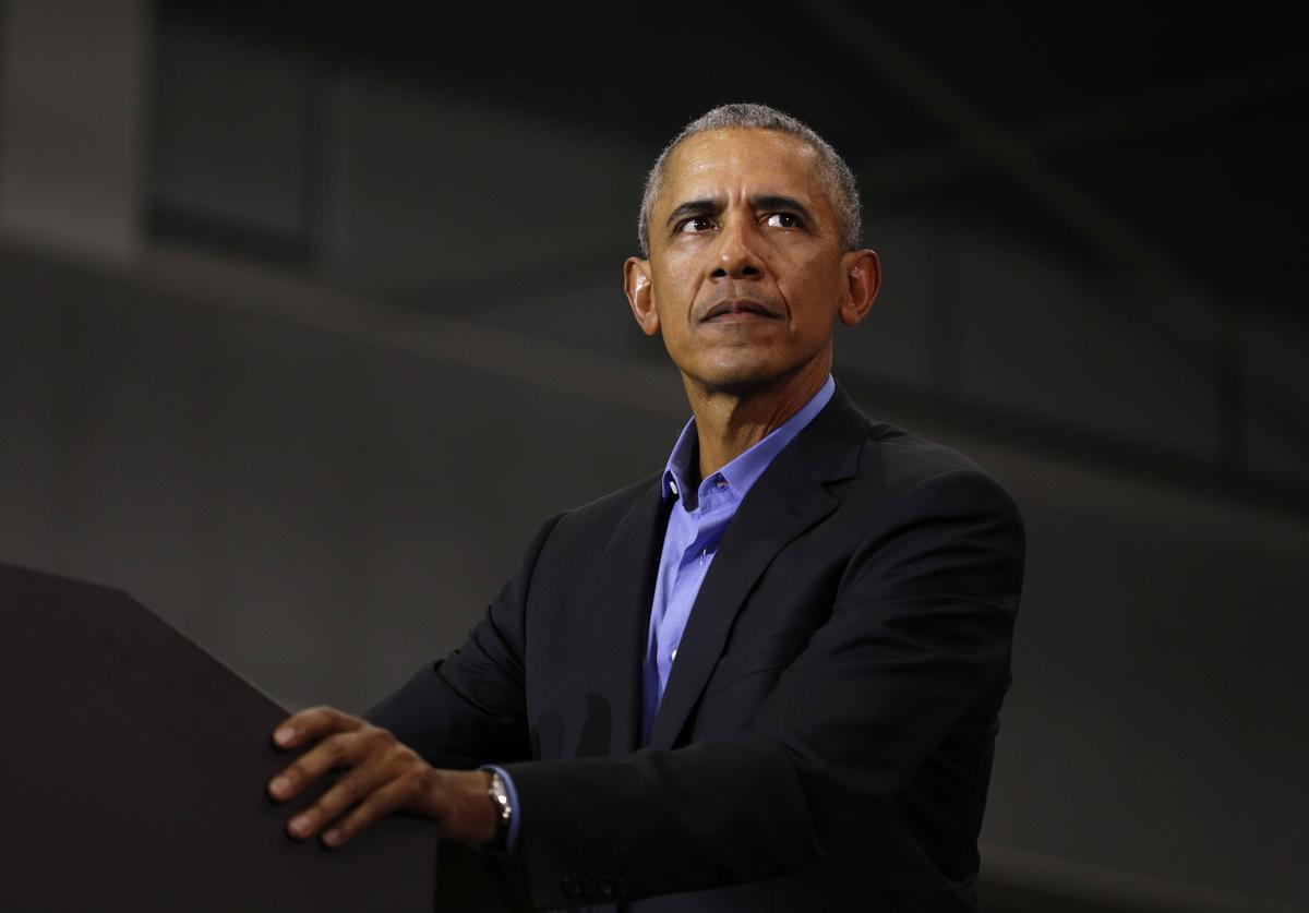 Barack Obama speaks at a rally to support Michigan democratic candidates at Detroit Cass Tech High School on October 26, 2018 in Detroit, Michigan