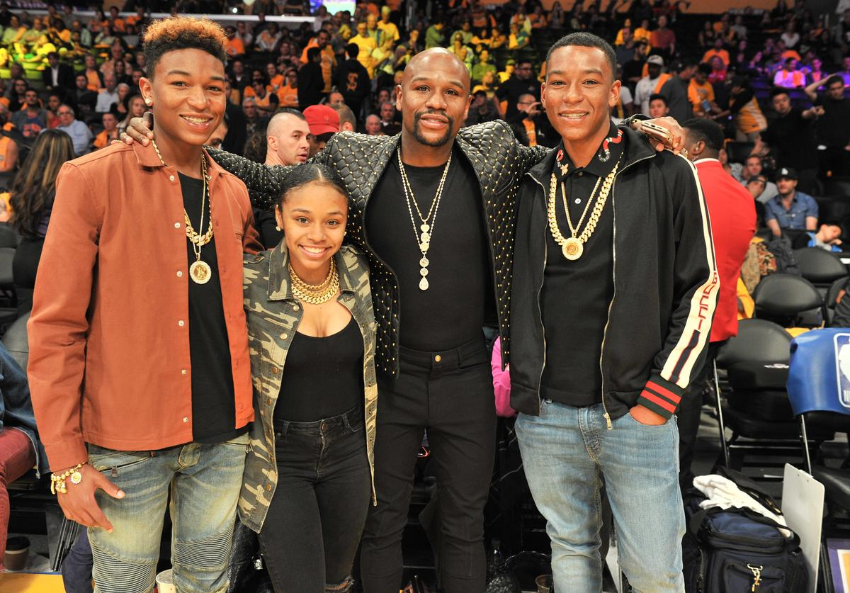 Koraun Mayweather, Iyanna Mayweather, Floyd Mayweather, Jr. and Zion Mayweather attend a basketball game between the Los Angeles Lakers and the Los Angeles Clippers at Staples Center on October 19, 2017 in Los Angeles, California