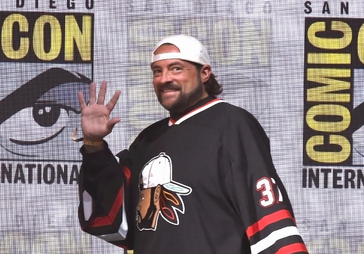 Moderator Kevin Smith at Dirk Gently's Holistic Detective Agency: BBC America Official Panel during Comic-Con International 2017 at San Diego Convention Center on July 23, 2017 in San Diego, California.