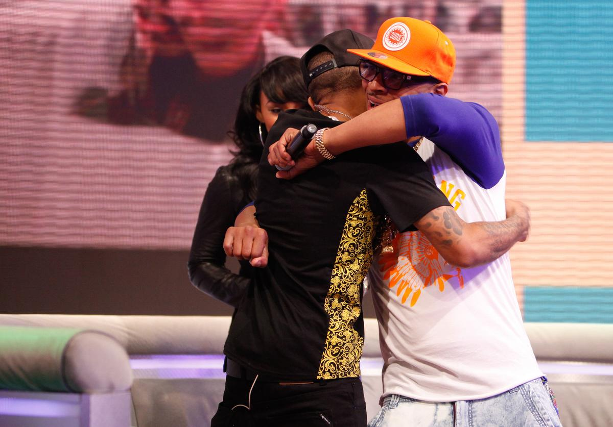 T.I. visits BET's 106 & Park with Host's (L) Bow Wow and (Center) Paigion at BET Studios on May 1, 2013 in New York City