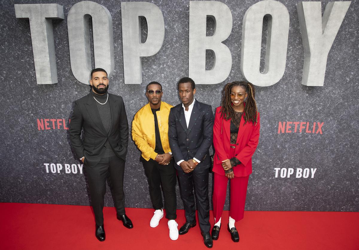 """Drake, Ashley Walters, Micheal Ward and Simbiatu Ajikawo attend the """"Top Boy"""" UK Premiere at Hackney Picturehouse on September 04, 2019 in London, England."""