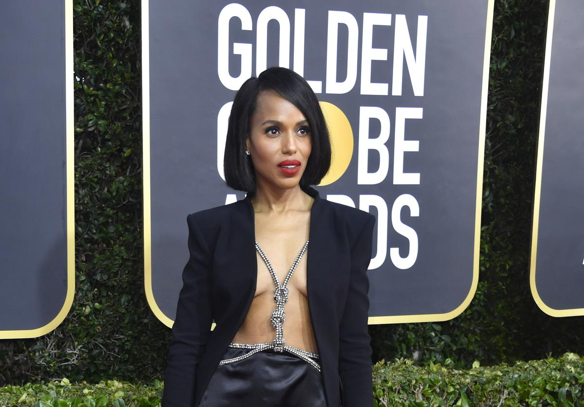 Kerry Washington attends the 77th Annual Golden Globe Awards at The Beverly Hilton Hotel on January 05, 2020 in Beverly Hills, California