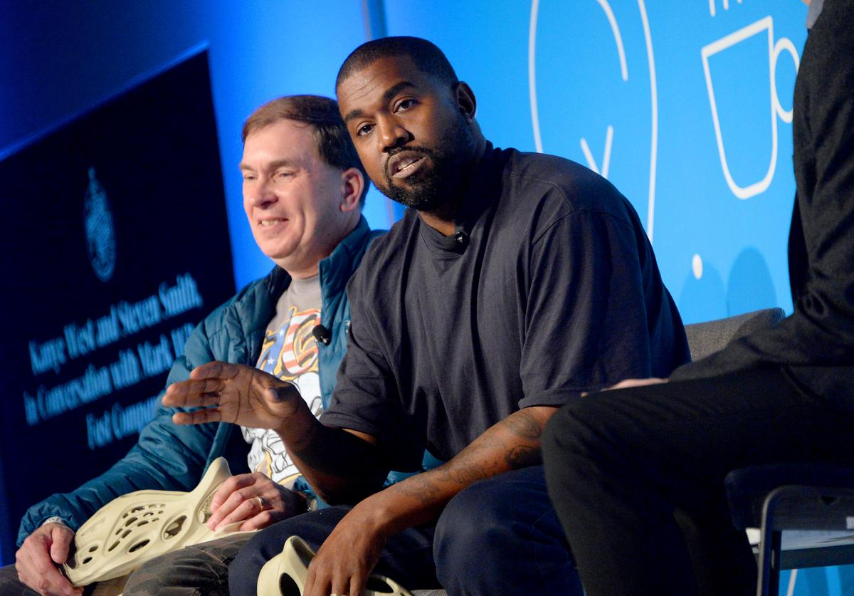 "Steven Smith and Kanye West speak on stage at the ""Kanye West and Steven Smith in Conversation with Mark Wilson"" at the on November 07, 2019 in New York City"