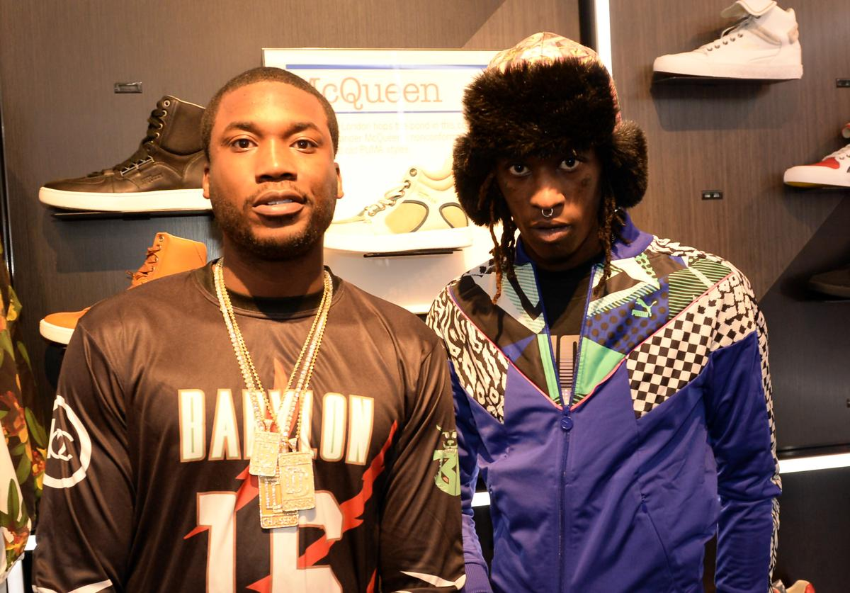 Meek Mill and Young Thug make a special appearance at The PUMA Lab Powered by Foot Locker at Foot Locker at the Gallery at South Dekalb Mall on February 6, 2014 in Atlanta, Georgia