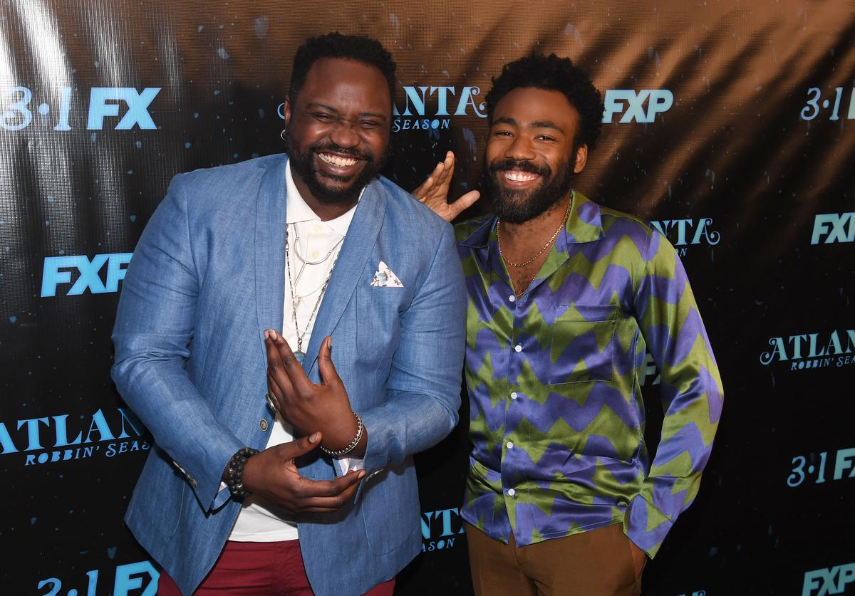 "Actor Brian Tyree Henry and actor/recording artist Donald Glover attend ""Atlanta Robbin' Season"" Atlanta Premiere at Starlight Six Drive In on February 26, 2018 in Atlanta, Georgia."