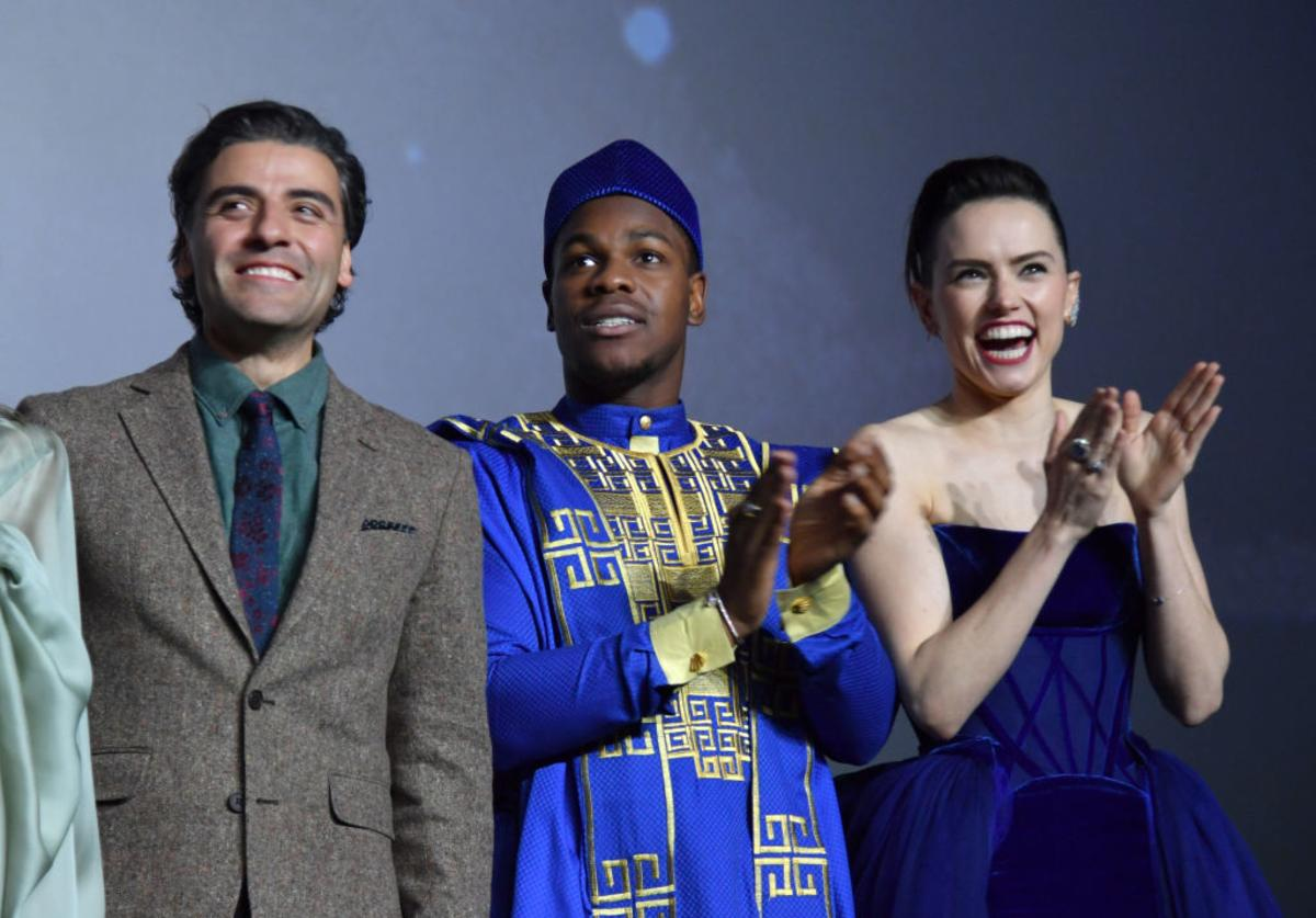 "Oscar Isaac, John Boyega and Daisy Ridley attend the European premiere of ""Star Wars: The Rise of Skywalker"" at Cineworld Leicester Square on December 18, 2019 in London, England."