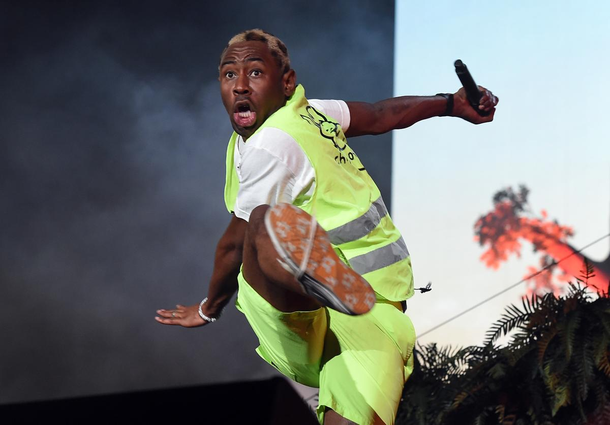 Tyler, the Creator performs onstage during the 2018 Coachella Valley Music And Arts Festival at the Empire Polo Field on April 21, 2018 in Indio, Californi
