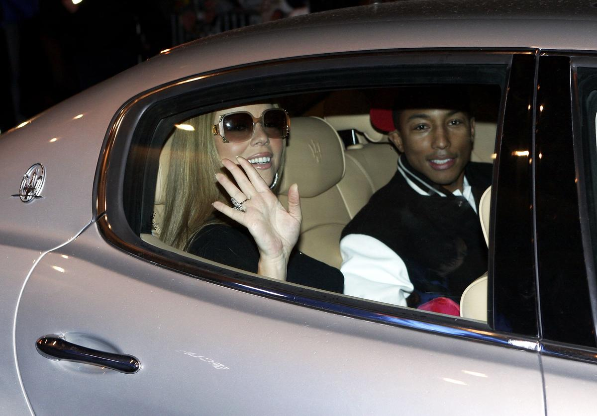 "Mariah Carey and Pharrell Williams in 2006 at the ""Say Somethin"" music video in Paris"