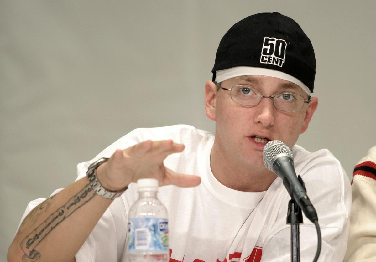 Rap artist Eminem speaks about his financial past and present at the 1st Financial Hip Hop Summit May 14, 2005 in Detroit, Michigan. The summit, which brought together Russell Simmons and hip Hop and Rap artists to raise awareness of young adults about the importance of financial empowerment.