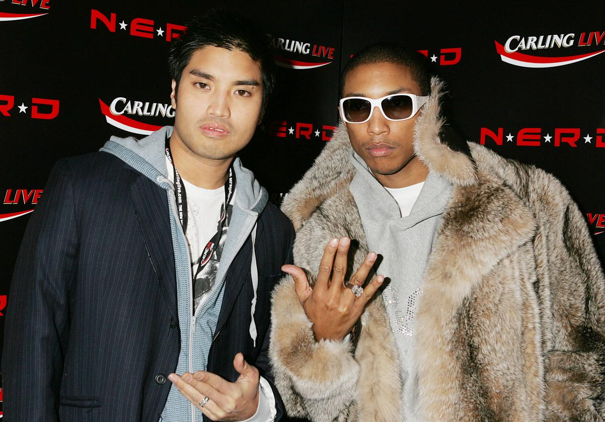 : Chad Hugo and Pharrell Williams attend the aftershow party following the final gig this year by N*E*R*D, at Sketch November 22, 2004 in London.