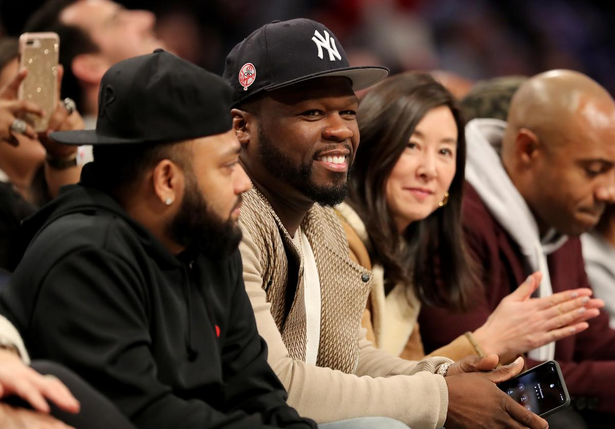 50 Cent attends the game between the Brooklyn Nets and the Philadelphia 76ers at Barclays Center on January 20, 2020 in New York City