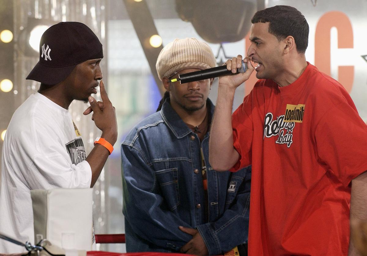 "The two finalists Locksmith (right) and Reign Man (left) perform at the ""MTV MC Battle Finale"" May 17, 2003 at the MTV Times Square Studios in New York City"