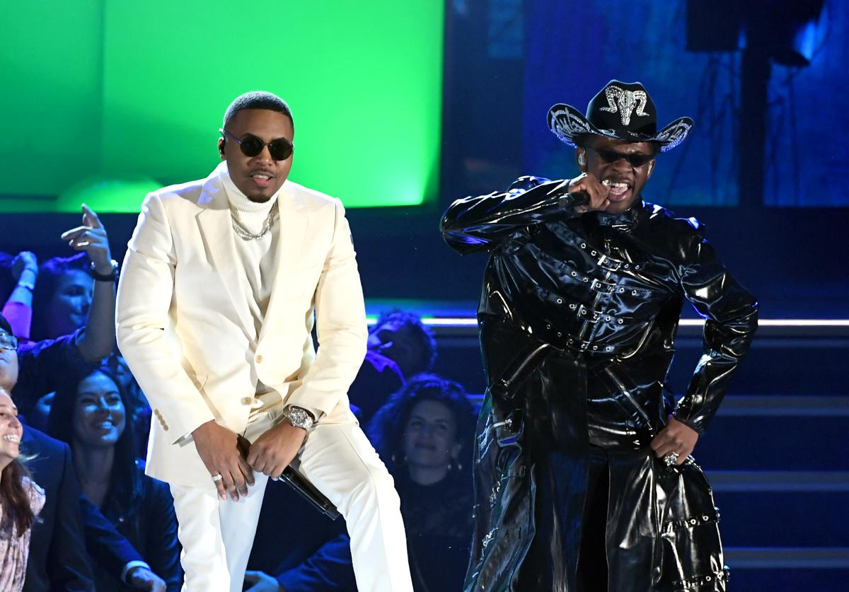 (L-R) Nas and Lil Nas X perform onstage during the 62nd Annual GRAMMY Awards at STAPLES Center on January 26, 2020 in Los Angeles, California.