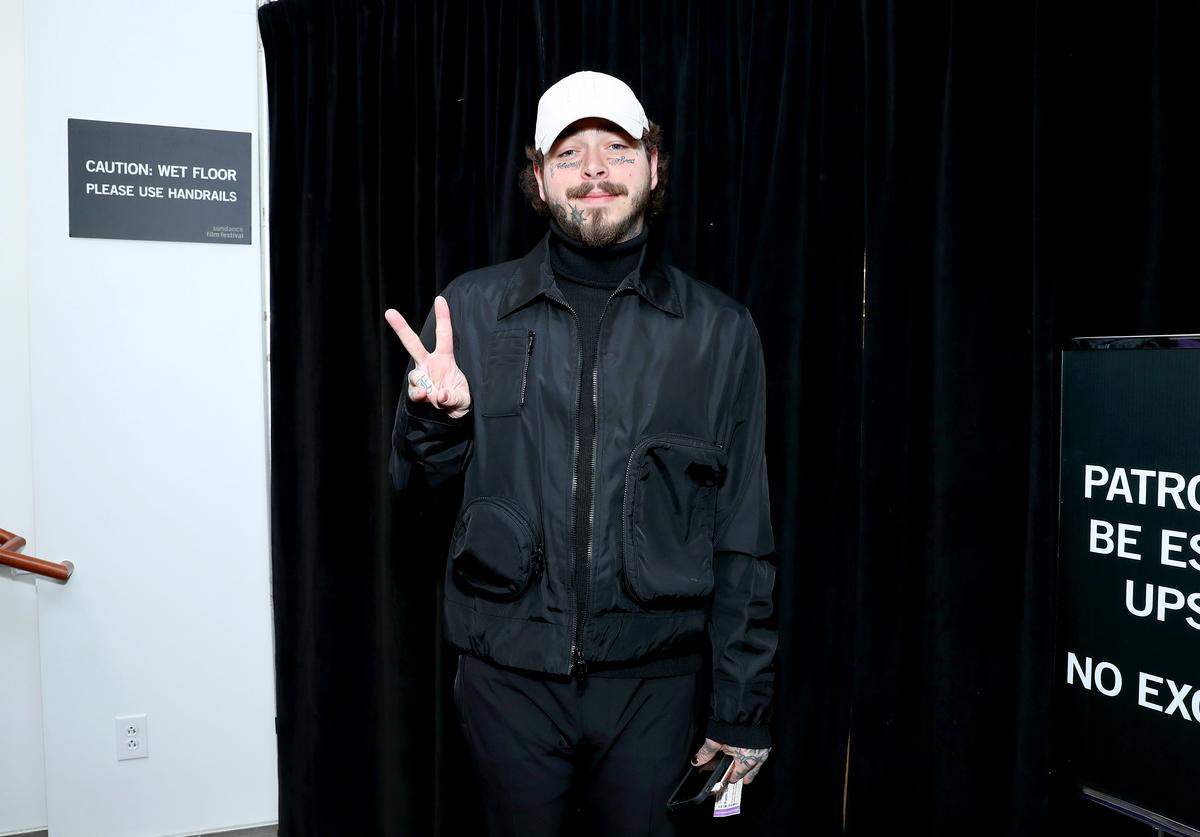 "Post Malone attends the 2020 Sundance Film Festival - ""Palm Springs"" Premiere at Library Center Theater on January 26, 2020 in Park City, Utah"