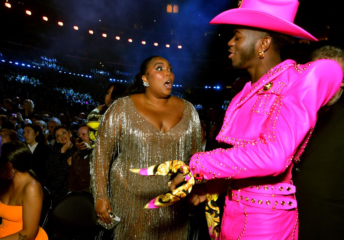 Lizzo and Lil Nas X during the 62nd Annual GRAMMY Awards at STAPLES Center on January 26, 2020 in Los Angeles, California