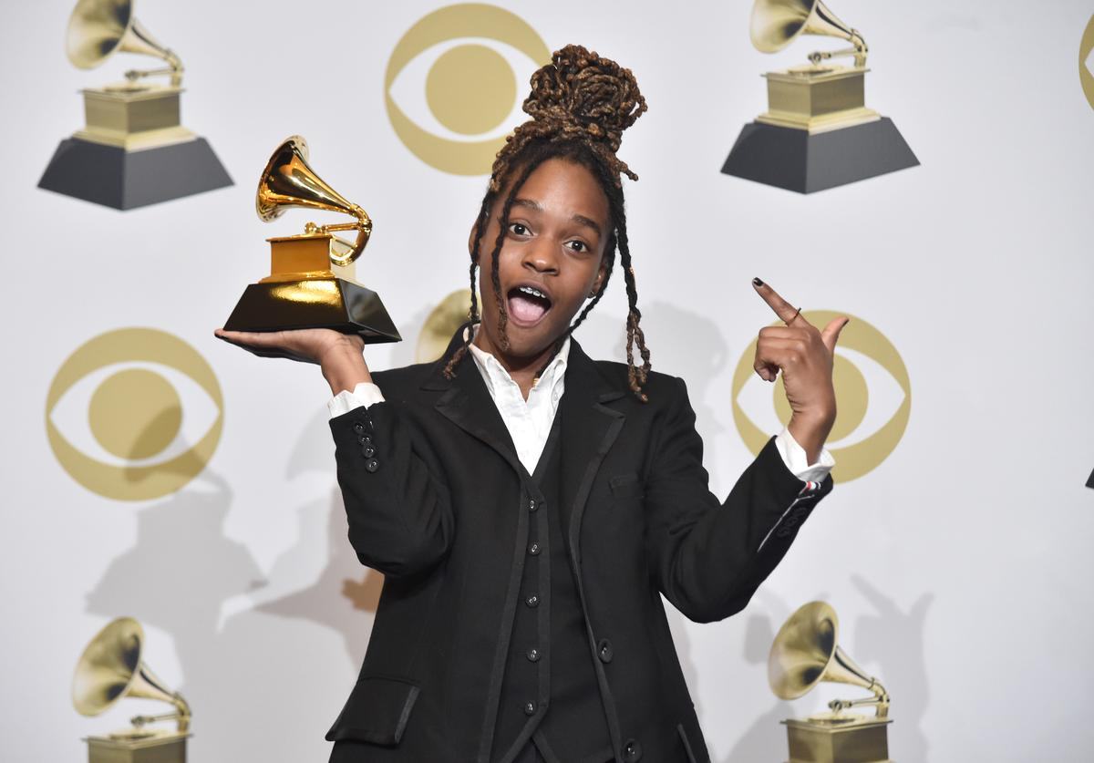 Koffee, winner of Best Reggae Album, poses in the press room during the 62nd Annual GRAMMY Awards at STAPLES Center on January 26, 2020 in Los Angeles, California.