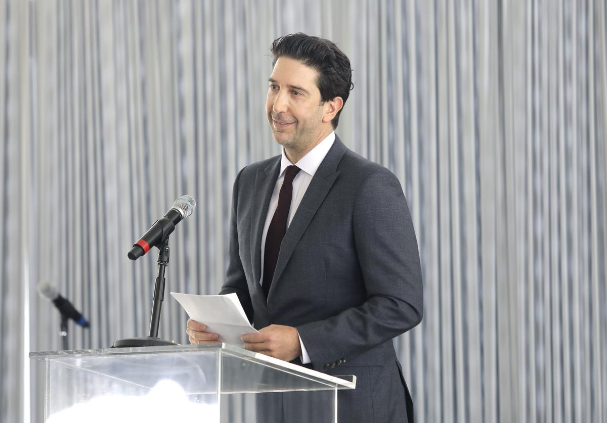 David Schwimmer speaks onstage during the Rape Foundation Annual Brunch 2019 at a Beverly Hills Private Estate on October 06, 2019 in Beverly Hills, California
