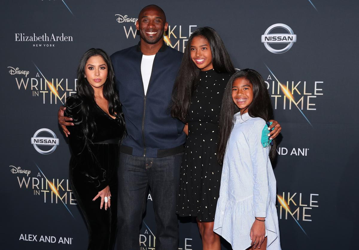 """Kobe Bryant (2nd L) and his family attend the premiere of Disney's """"A Wrinkle In Time"""" at the El Capitan Theatre on February 26, 2018 in Los Angeles, California."""