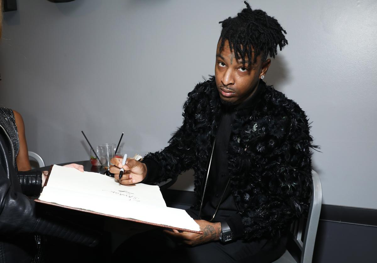 21 Savage is seen at the GRAMMY Charities Signings during the 62nd Annual GRAMMY Awards at STAPLES Center on January 26, 2020 in Los Angeles, California.