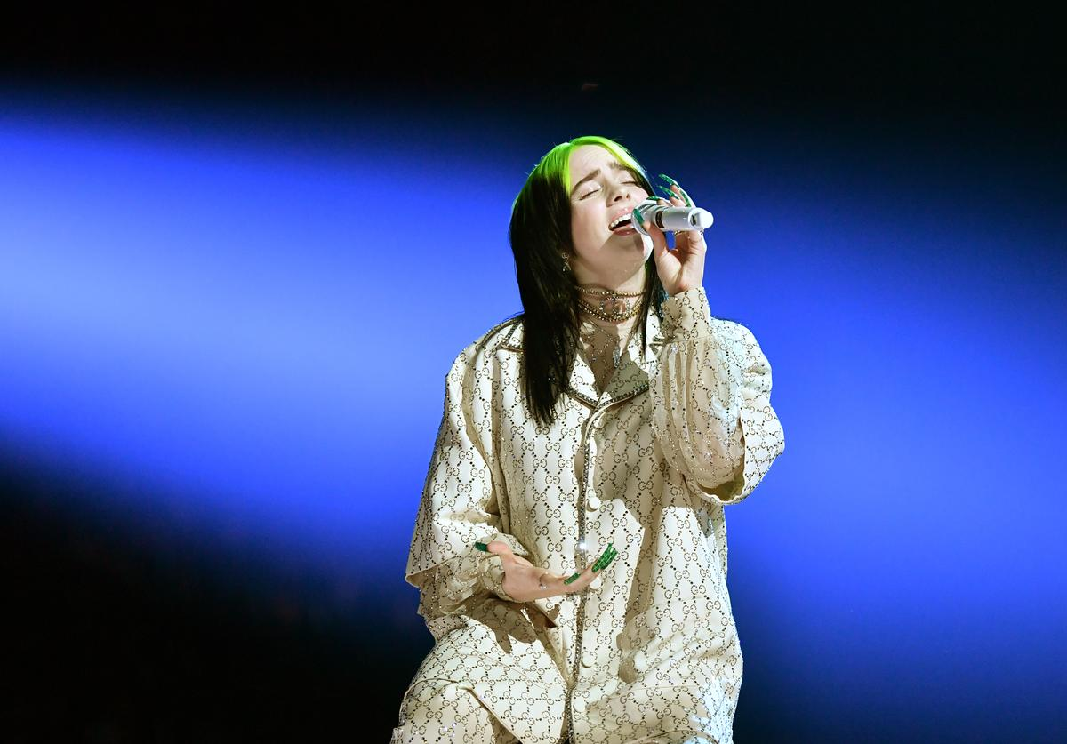 Billie Eilish performing at the 62nd Annual Grammy Awards