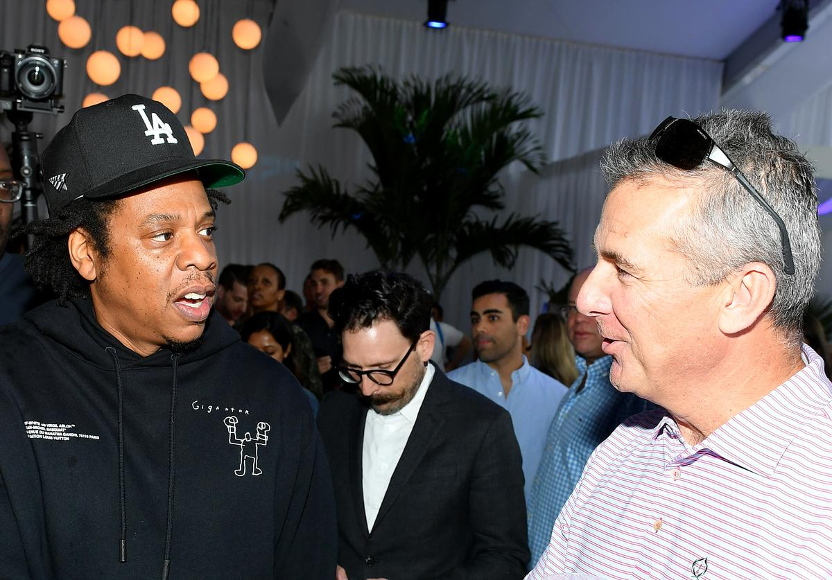 Jay-Z and Urban Meyer attend Mike Rubin's Fanatics Super Bowl Party (Feb. 2020)