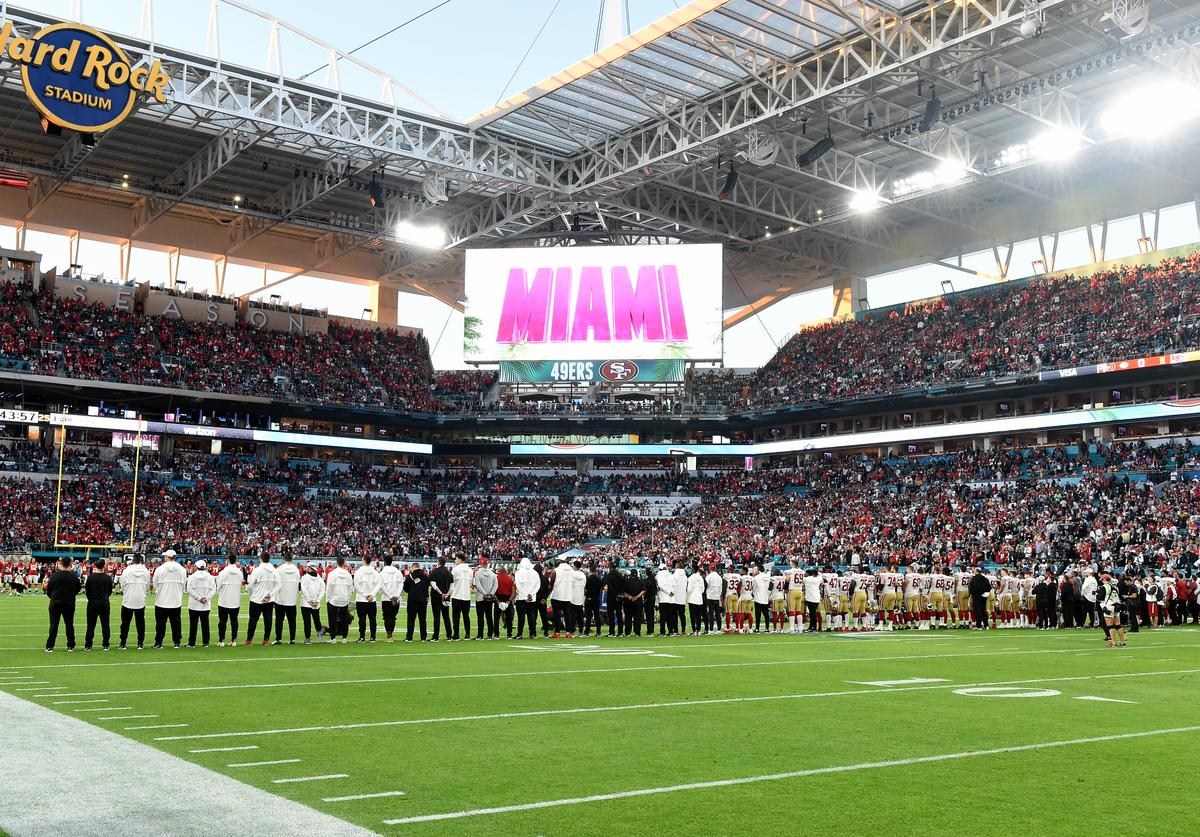 Players are seen on the field during the Super Bowl LIV Pregame at Hard Rock Stadium on February 02, 2020 in Miami Gardens, Florida